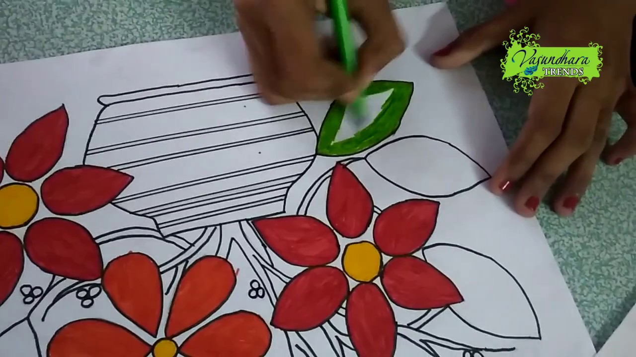 Drawing Flower Pot Learning colours for Kids || Colouring of Flower ...