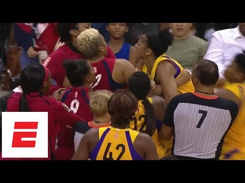 Candace Parker, Tianna Hawkins involved in scuffle during Sparks-Mystics game | ESPN