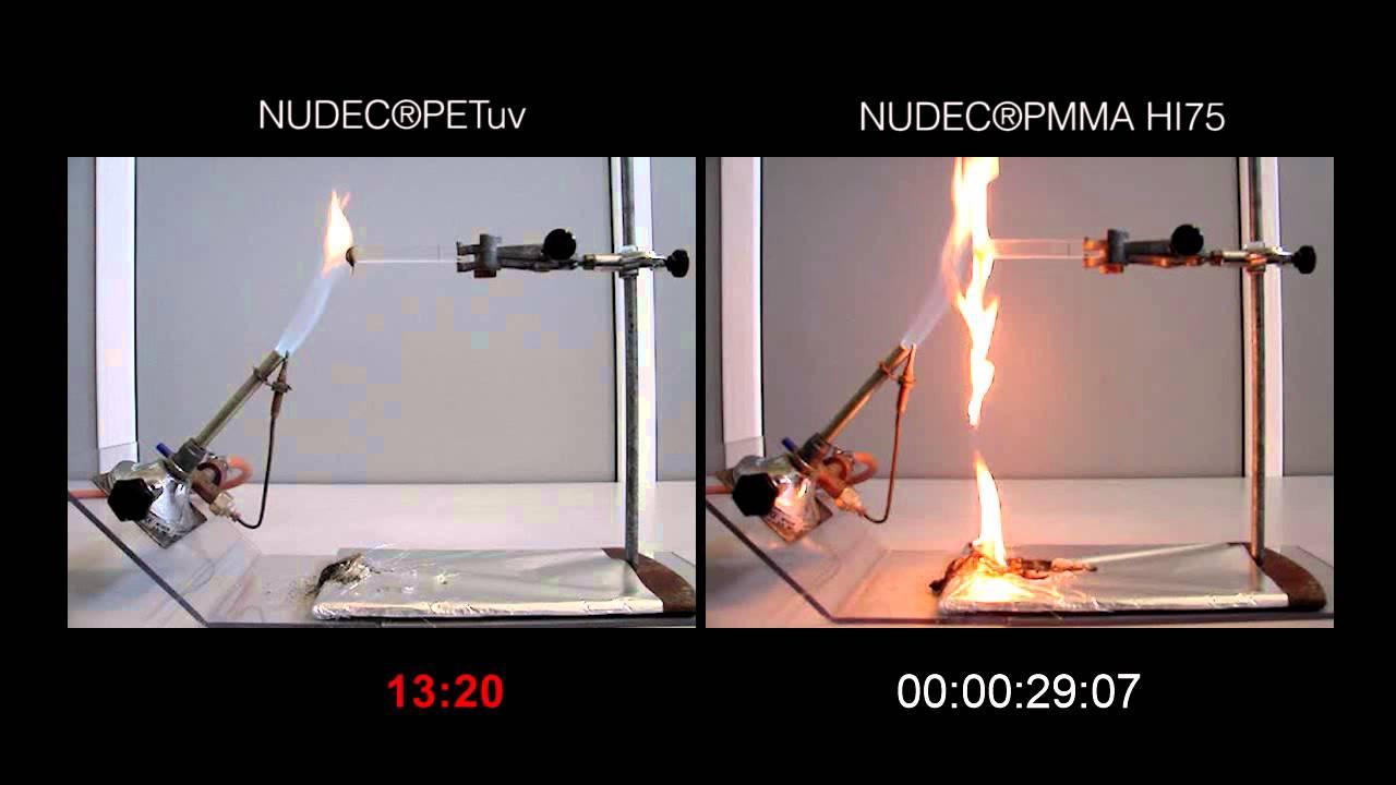 Ul94 Hb Fire Test Petuv Vs Pmma Hi75 Youtube