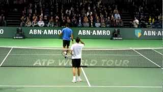 Roger Federer Training/Practice with Juan Martin Del Potro at Court 1 ABN AMRO WTT