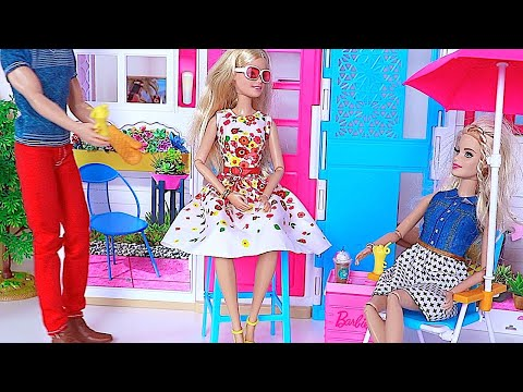 Thumbnail: Barbie Doll & Ken BBQ Grill party Barbie Dollhouse * Stacie & Skipper POPCORN movie toys for kids