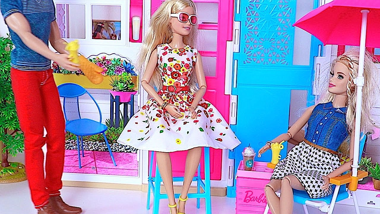 Barbie Doll Ken Bbq Grill Party In Barbie Dollhouse Youtube