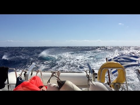 Over 50 knots of wind sailing Cyclades, Aegean sea