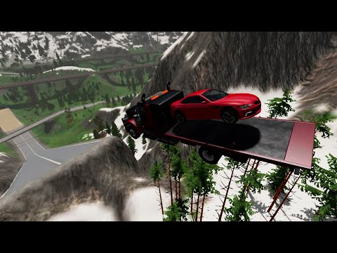 Beamng Drive - big cars crash into the trash from a huge springboard - Car Games TV |