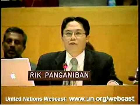 Rik addressing UN General Assembly for First Civil Society Hearings