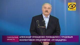 Александр Лукашенко пообщался с трудовым коллективом предприятия «Речицадрев»