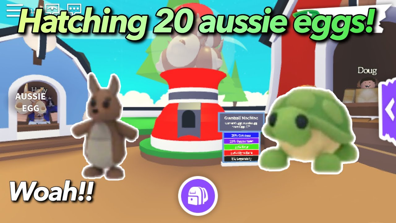 Hatching 20 Aussie Eggs I Got Legendary Pet Kangaroo Roblox Adopt Me Youtube
