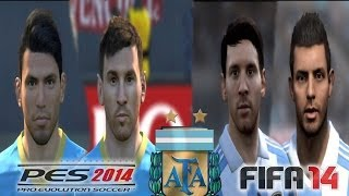 PES 2014 vs FIFA 14 FACE Comparison ARGENTINA (Messi, Aguero) Faces