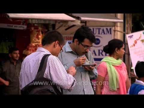 Delhi citizens enjoying the outside food