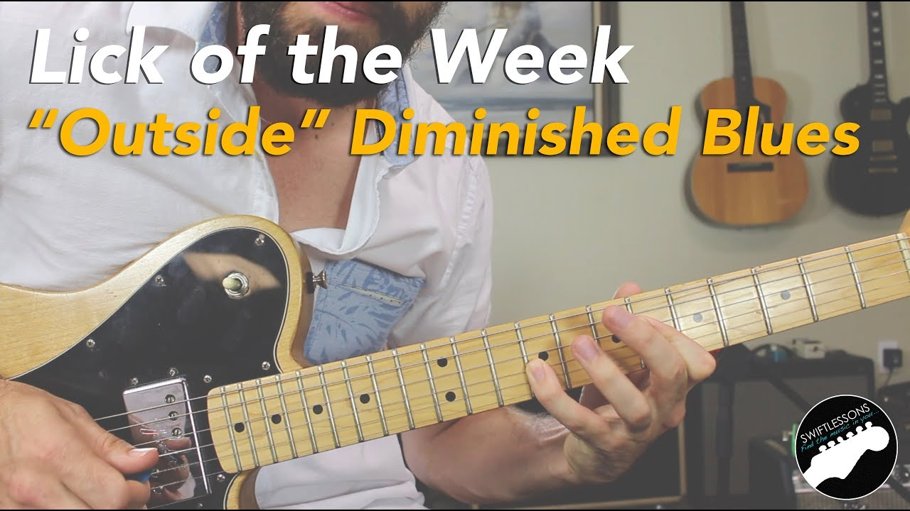 Playing Outside Diminished Blues Guitar Lick Lesson