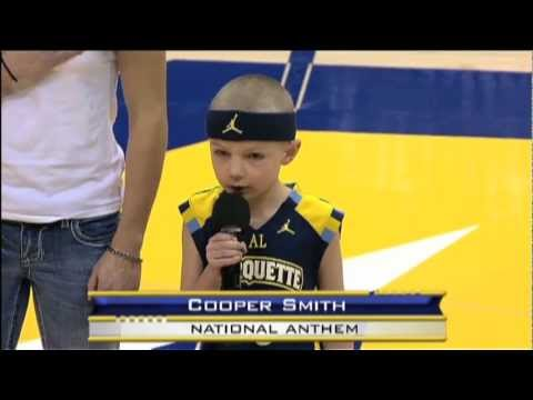 Cooper Smith sings Star Spangled Banner at Marquette-UW game