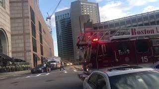 Boston Fire Ladder 15 backing in