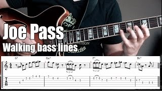 Guitar Walking Bass Lines w/chords | Jazz Lesson With Tabs