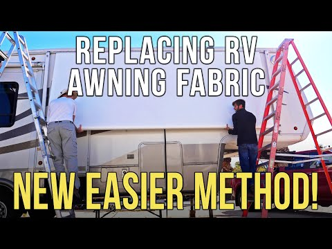 how-to-replace-rv-patio-awning-fabric---new-easier-method!-dometic-/-a&e-manual-awning-+-bloopers!