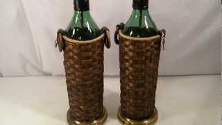 Pair Vintage Retro Green Glass Oversized Rattan Wicker Bottle Table Lamps