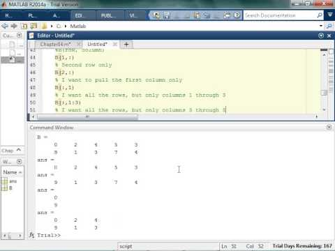 Indexing Values in a Matrix in Matlab