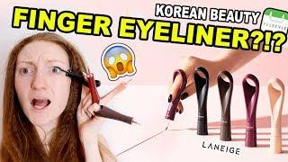$35 FINGER EYELINER?! TRYING WEIRD KOREAN MAKEUP! | Laneige Finger Graphic Liner from YesStyle!
