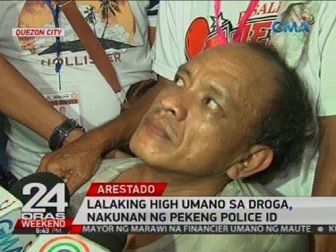 Lalaking high umano sa droga, nakunan ng pekeng police ID