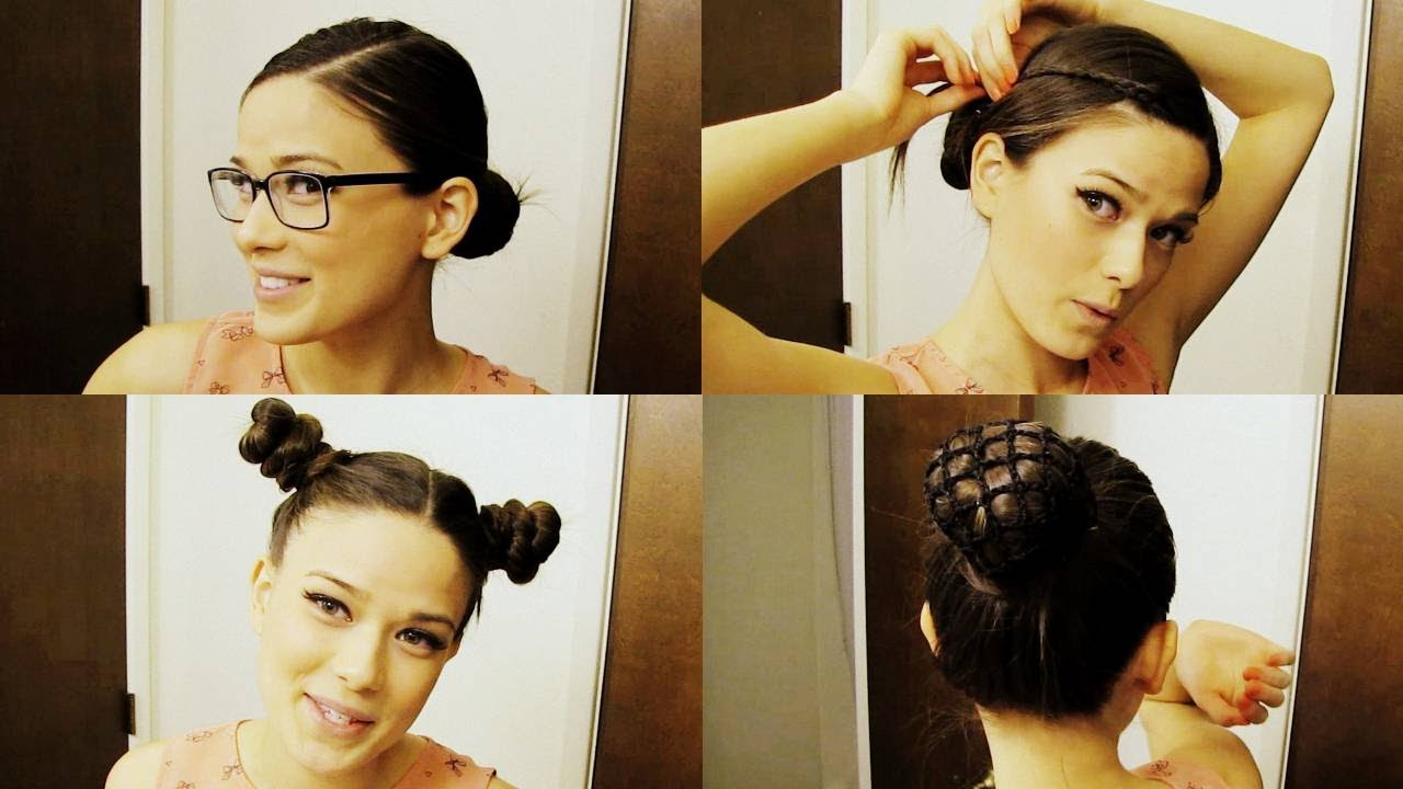 hairstyles you can wear to class - 4 fun bun updos! - youtube