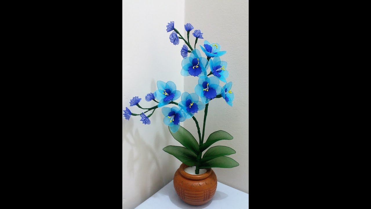 How To Make Nylon Stocking Flower Blue Orchid Youtube