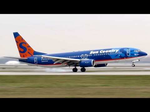 Sun Country Boeing 737-800 (B738) landing & departing Montreal (YUL/CYUL)