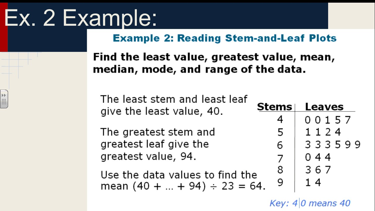 6 9 Stem And Leaf Plot Course 1