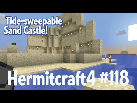 Tide-sweepable sandcastle — Hermitcraft 4 ep 118