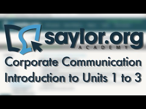 Corporate Communication: Units 1 To 3 Introduction - Business Administration 210