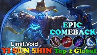 Epic Comeback Limit.Void Top 2 Global Yi Sun-shin Gameplay Mobile Legends