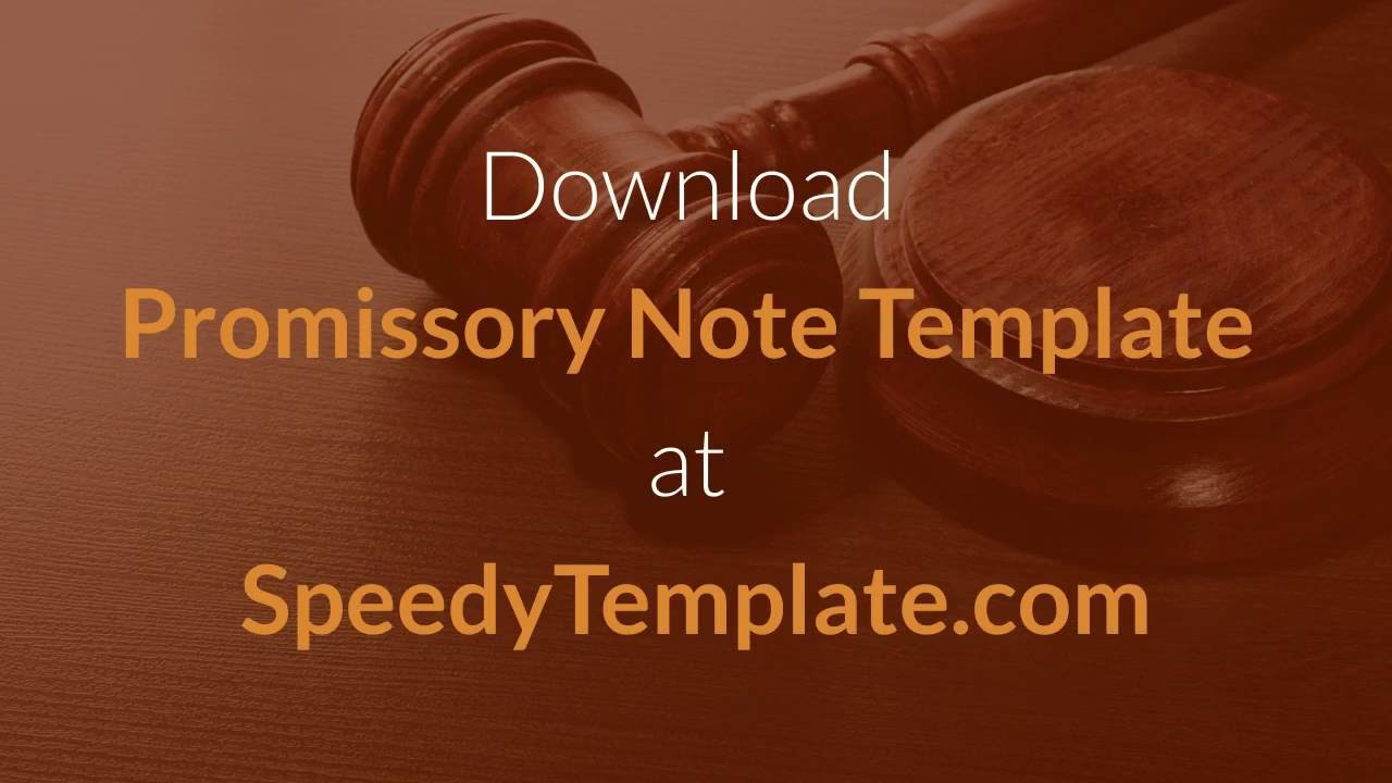 Promissory Note Template How To Write A Promissory Note Youtube