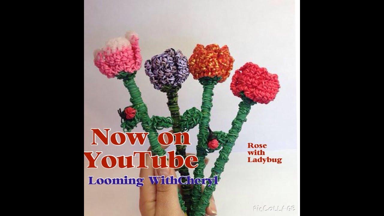 Rainbow Loom Rose Flower / Ladybug / Leaf