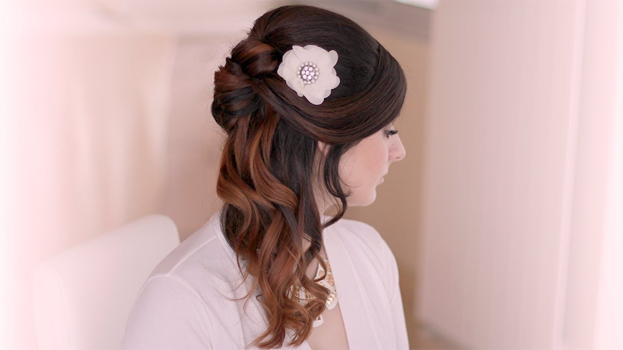 wedding hairstyle tutorial. prom half up half down with curls for