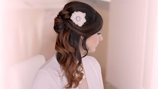Wedding hairstyle tutorial. Prom half up half down with curls for long hair