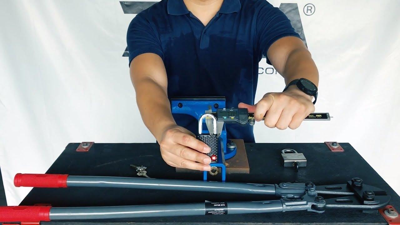 ZETA ZA43 Open Shackle Padlock Anti-Cut Test