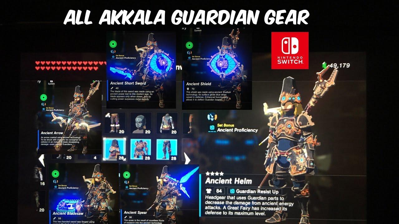 All Akkala Ancient Tech Lab Guardian Gear & Weapons Zelda Breath of the  Wild BotW