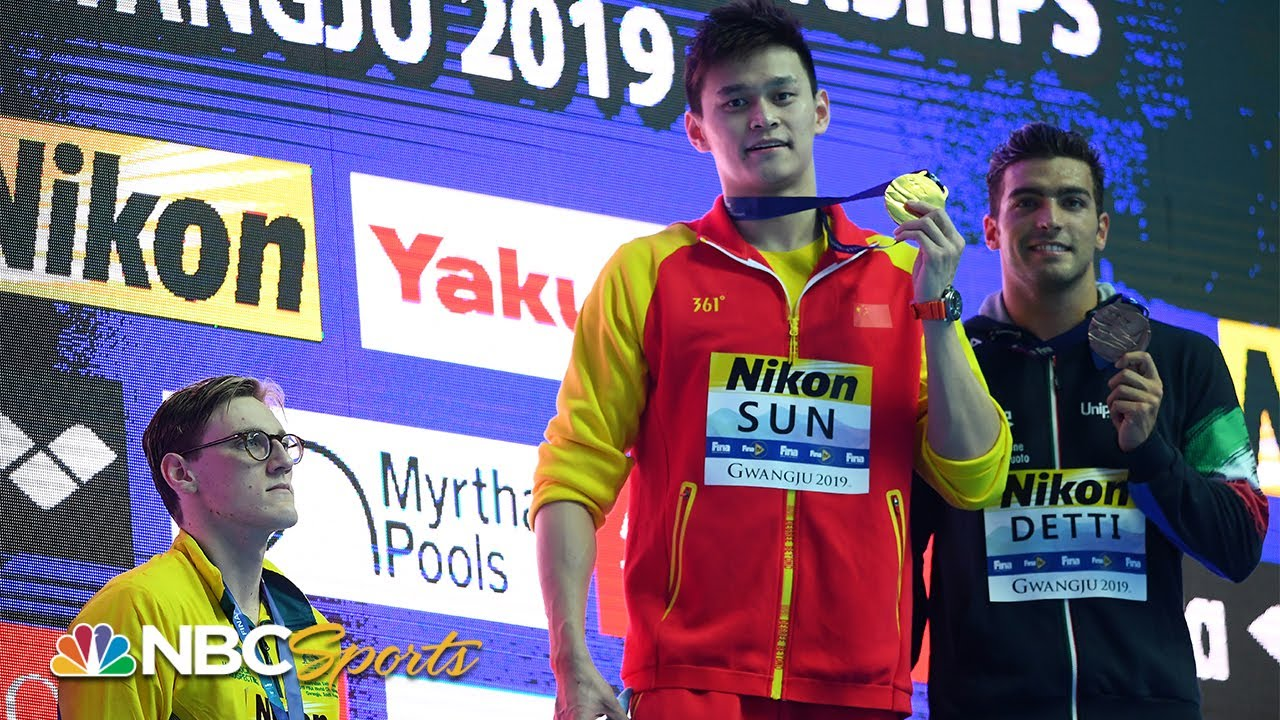 Mack Horton refuses to share podium in protest of Sun Yang at 400m in swimming worlds | NBC Sports