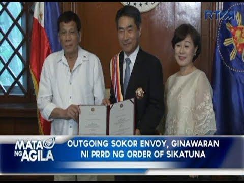 Outgoing South Korean envoy, ginawaran ni Pangulong Duterte ng Order of Sikatuna