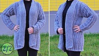 Кардиган из Alize Puffy Fine. МК 2/2 ч. Вязание без спиц и крючка. Cardigan pattern