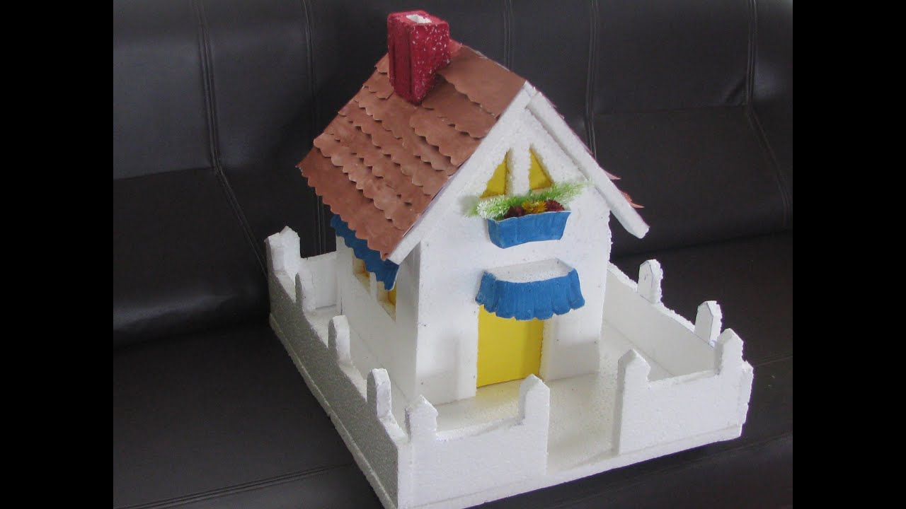 Thermocol House With Paper Roof And Poster Colors Model