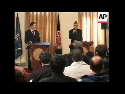 Afghan President Karzai holds joint newser with NATO Secretary-General
