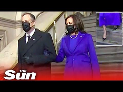 Kamala Harris nearly falls down stairs as escorted into Biden's inauguration