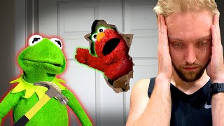 Kermit The Frog and Elmo Broke a HOLE in Our DOOR Again?!