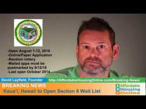BREAKING NEWS - Kauai County, HI Section 8 Opening 8/3/16