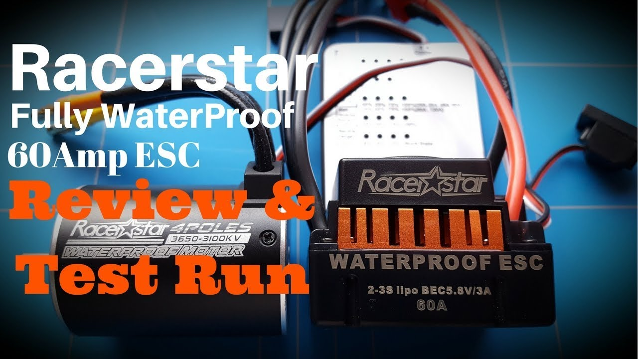 60amp racerstar waterproof brushless esc review and test run with 3650 rc motor [ 1280 x 720 Pixel ]