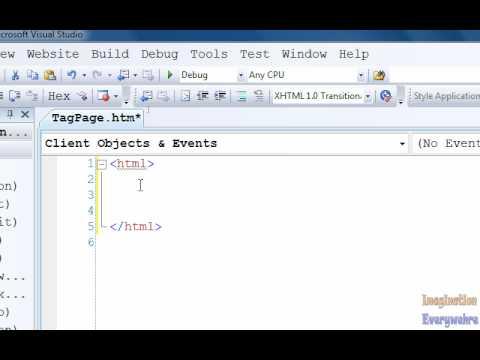 Visual Web Developer Tutorial 2 - Looking At HTML Tags