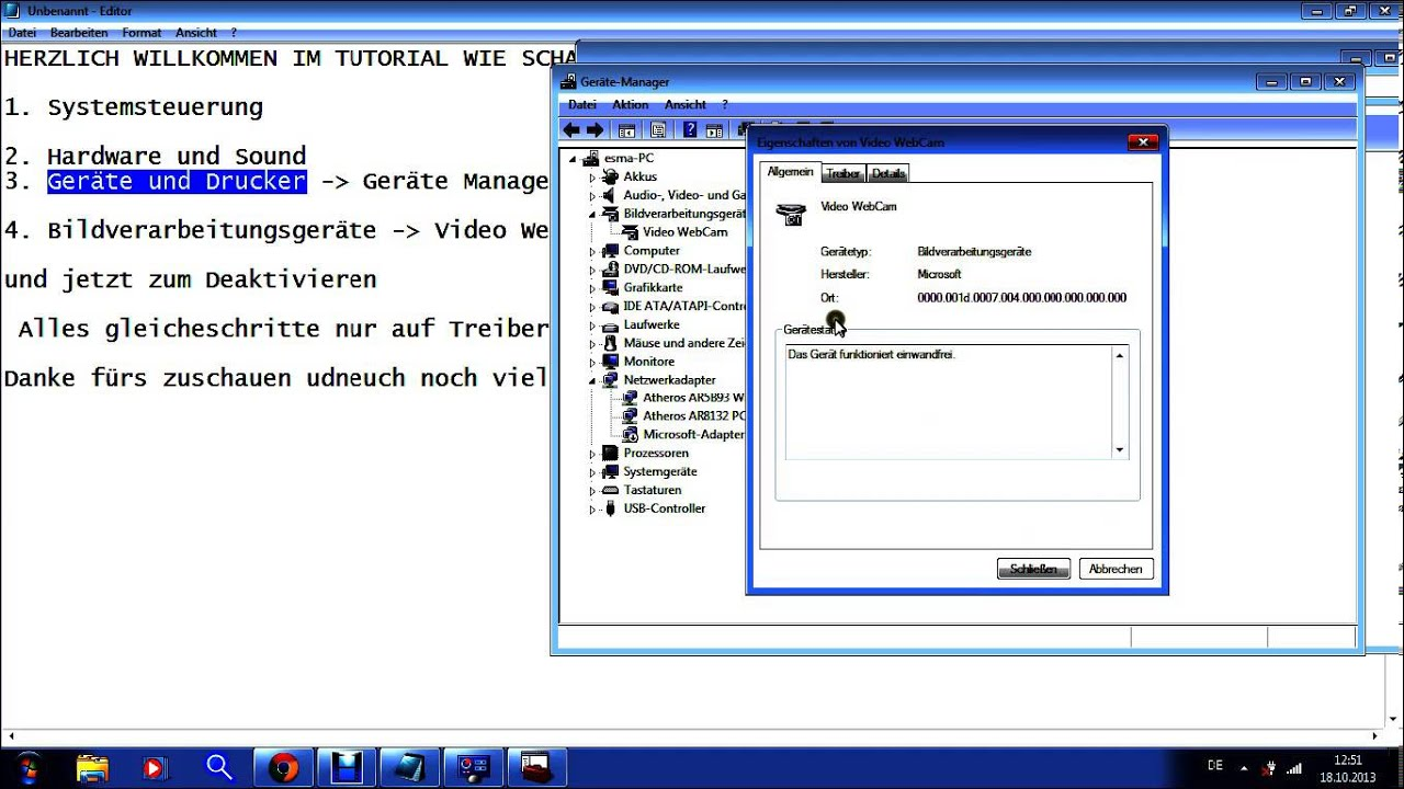 Webcam Aktivieren Deaktivieren Windows 7 Youtube