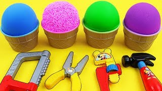 Learn Colors Play Doh Kinetic Sand Mad Matter Kinetic Foam Ice Cream Cups Kinder Joy Surprise Eggs