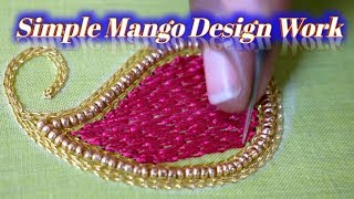 Simple Mango Design Work Using  Beads & Thread   Nakshatra Designers