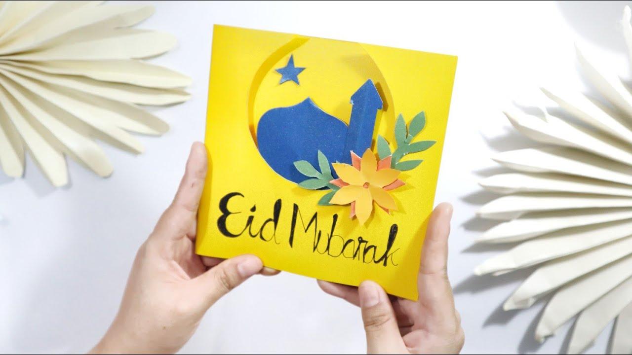 Diy Eid Mubarak Ramadan Greeting Cards Kartu Ucapan Lebaran Idul Fitri Kad Hari Raya Kreatif Youtube