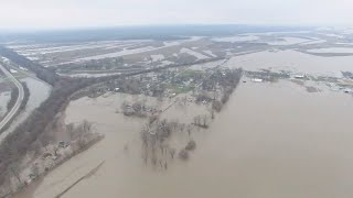 Epic Mississippi River Flooding: Aerial Shots of West Alton, Border of Illinois and Missouri